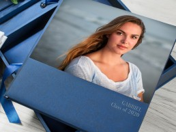 high school senior album in blue with image cover